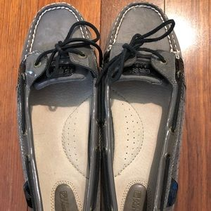 Sperry Gray Leather Boat Shoes Size 11